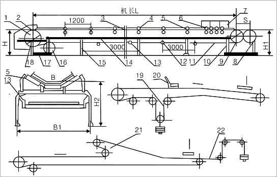 皮带输送机外形尺寸示意图